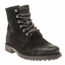 New Mens SOLE Black Ben Suede Boots Lace Up