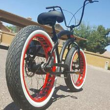 NEW Aluminum Fat Tire Bike Beach Cruiser  🌴 Sikk 3 SPEED FLAT BLACK RED Wheels