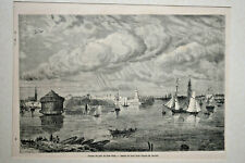 ENTREE PORT NEW YORK Gravure Paul Huet Deville USA Etats Unis XIX