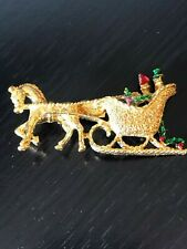 Vintage Gerry's Santa Sleigh Pinback Brooch Pin Gold Tone Red Green Horse