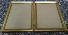 VTG BRASS 2 PICTURE FOLDING PICTURE FRAMES 5 X 7 HANGING OR SHELF