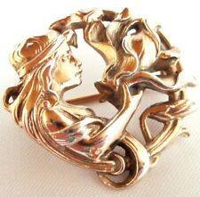 Kunstvolle Jugendstil 900 Silber Brosche vergoldet Art Nouveau / AB 015