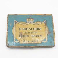 Baden Biden Batscahri Vintage Metal Case Tin Box Cigarette Tobacco