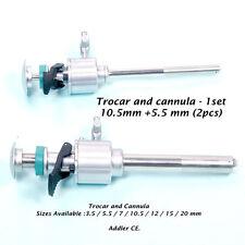 Addler Laparoscopy 10.5mm + 5.5m Trocar+Cannula 16cm X 3 sets +1 reducer flip on
