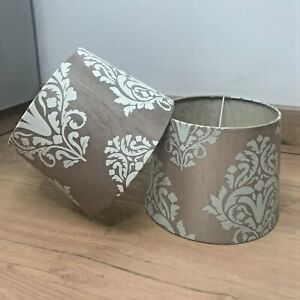 A Pair of LAMPSHADES Small Taupe/Beige & Cream Flock Pattern Bedside Table Lamp