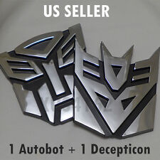 3D Chrome 1 Autobot + 1 Decepticon 4 Inch Transformers Emblem Badge Decal Car