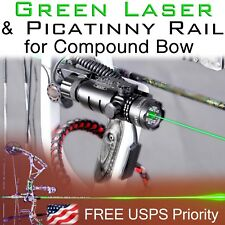 Green Laser Sight & Picatinny Rail for Compound Bow Bowhunting Bowfishing