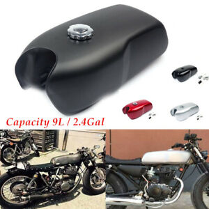 9L/2.4 Gallon Motorcycle Cafe Racer Vintage Fuel Gas Tank W/Cap Switch