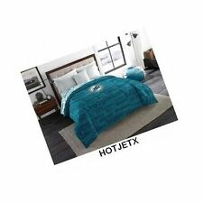 MIAMI DOLPHINS BEDDING COMFORTER TWIN FULL BLUE NFL FOOTBALL SUPERBOWL GPS HD TV