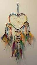 Traditional Native American Heart Dreamcatcher with feathers and crystals gift