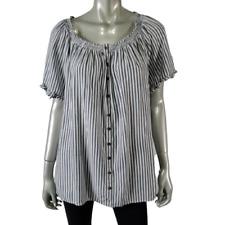 Terra & Sky Peasant Top Plus Size 14W Raglan Sleeve Striped Button Up White