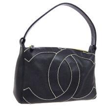 CHANEL Wild Stitched Jumbo CC Hand Bag 9570748 Purse Black Leather GS02349