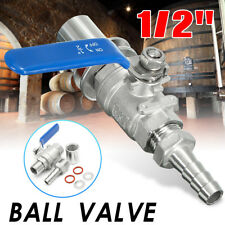 AU 1/2'' Stainless Steel Weldless Ball Valve Homebrew Beer Wine Kettle Pot Kit