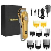 Men's Professional Hair Clippers Barber Set Mains Trimmer Shaver Cutter Gold