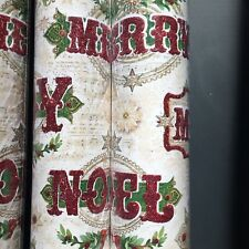 x3 Punch Studio Glitter JOY MERRY Christmas Wrapping Paper Gift Wrap Rolls 30""