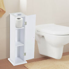 HOMCOM Bathroom Toilet Roll Storage Cabinet Tissue Paper Holder Shelf Wooden NEW