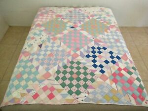 Vintage Feed Sack Hand Quilted CHECKERBOARD Quilt w/ SAWTOOTH Sashing & Borders