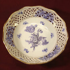 Schuman Germany Dresden Pierced Hand Painted Porcelain Bowl