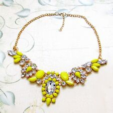 """NEW Yellow Resin Crystal Bubble Bib Statement Bubble Necklace Women's Party 18"""""""