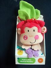 FISHER PRICE PEEK-A-BOO MUSICAL MONKEY CRIB COT PULL DOWN BABY TOY
