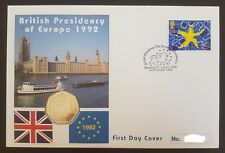 GB QEII PNC COIN COVER 1992 BRITISH PRESIDENCY OF EUROPE 50P UNC
