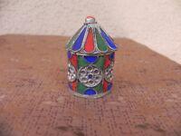 vintage boite emaillée tibetaine artisanat populaire forme moulin à priere