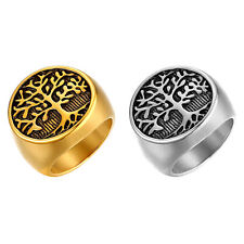 Men's Retro Tree of Life Stainless Steel Wedding Promise Ring Band Size 7-12