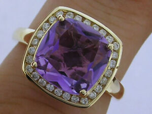 R211 Genuine 9K or 18K Gold Natural Amethyst & Diamond Halo Ring in yr size