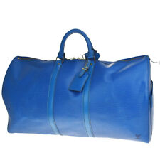 Auth LOUIS VUITTON Keepall 55 Travel Hand Bag Epi Leather Blue M42955 87MC981