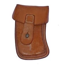 VINTAGE 1960s EX-ARMY LEATHER BELT POUCH CURVED TAN pocket knife sheath military