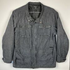 O'NEILL Womens XL Full Zip Charcoal Gray Jacket Denim Pockets Style 31102201