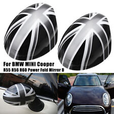 2x Union Jack WING Mirror Covers For MINI Cooper R55/56/57/60 Power Fold Mirror
