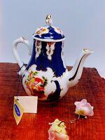 Vintage Porcelain Art Miniature Teapot Parot Bird Design