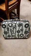Vintage Samsonite Fashionaire Suitcase Black and White Flowers Medium Size