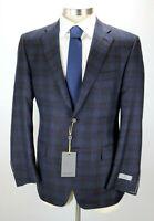 $1595 CANALI 1934 Wool Coat Jacket 44 R (54 EU) Navy Blue Plaid Modern Fit NWT