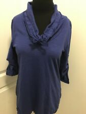 Neon Buddha Women's Cotton Blouse with Cowl Neck Tie Blue *S designed in Canada