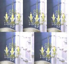 5 Shabby Scrollwork Chandelier Ivory Candle Holder Hanging Wedding Decor