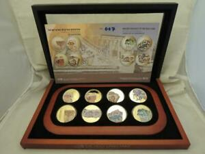 2012 Holy Land Ancient Mosaics Set of 8 Color Medal, each 1oz Pure Gold,Orig Box