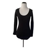 Fashion Nova Medium Black Scoop Neck Long Sleeve Ribbed Tee T Shirt