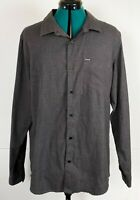 Hurley Mens Charcoal Grey Collared Long Sleeve Shirt Casual Dress Size L