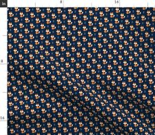 Small Scale Fox Navy Orange Quilt Baby Chevron Spoonflower Fabric by the Yard