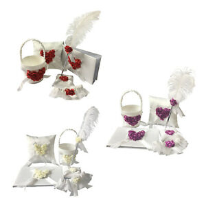 5Pieces Ivory Satin Wedding Guest Book&Pen,Ring Pillow,Flower Basket,Garter Set
