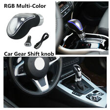 Touch Activated Car Gear Shift Knob LED 7 Colors RGB USB Charge With 3 Adapters