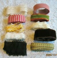 Lot of Vintage Assorted Lace/Crocheted Trims/Velvet Ribbon~Lots of Yardage