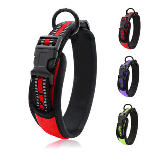 Wide Reflective Dog Collars Padded Pet Necklace for Yorkie Bulldog Labrador S-L