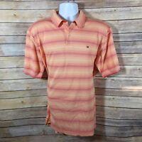 Tommy Hilfiger Mens Polo Shirt XL Orange Red Stripe Cotton Pique Mesh Collared