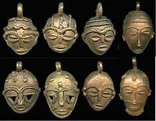 "West African Tribal Ashanti Mask Goldweight Replica Brass 1.5-2"" Pendant 1pc"