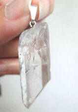 Pendentif pointe  CRISTAL DE ROCHE 3,5 cm / 9 g métal argenté