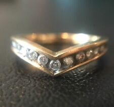 Vintage 9ct Gold And Diamond Wishbone Half Eternity Ring Size M
