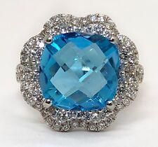 14k White Gold 6.96TCW Diamond & Cushion Blue Topaz Halo Ring Size 6.5 10×10MM